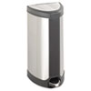 Safco® Step-On Waste Receptacle, Triangular, Stainless Steel, 10gal, Chrome/Black SAF9687SS