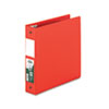 "Clean Touch Locking Round Ring Reference Binder, Antimicrobial, 2"" Cap, Red"