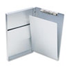 "Snapak Aluminum Side-Open Forms Folder, 1/2"" Clip Cap, 8 1/2 x 14 Sheets, Silver"