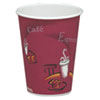 Solo Bistro Design Hot Drink Cups, Paper, 8oz, Maroon, 50/Bag, 20 Bags/Carton