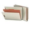 Smead® Pressboard End Tab Classification Folder, Letter, 4-Section, Gray/Green, 10/Box SMD26800