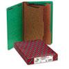 Smead® Pressboard End Tab Classification Folders, Legal, Six-Section, Green, 10/Box SMD29785