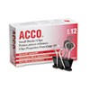 <strong>ACCO</strong><br />Binder Clips, Small, Black/Silver, Dozen