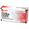 ACCO Smooth Standard Paper Clip, Jumbo, Silver, 100/Box, 10 Boxes/Pack ACC72580