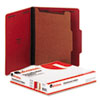 Universal® Pressboard Classification Folders, Letter, Four-Section, Ruby Red, 10/Box UNV10203