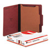 Universal® Pressboard Classification Folder, Letter, Four-Section, Red, 10/Box UNV10250