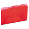 Universal® Recycled Interior File Folders, 1/3 Cut Top Tab, Letter, Red, 100/Box UNV12303
