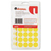 """Universal® Self-Adhesive Removable Color-Coding Labels, 3/4"""" dia, Yellow, 1008/Pack UNV40114"""
