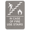 Headline® Sign ADA Sign, 6 x 9, In Case of Fire Use Stairs, Gray USS5400