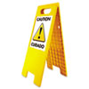 "Floor Tent Sign, Doublesided, Plastic, 10 1/2"" X 25 1/2"", Yellow"
