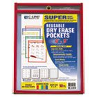 CLI41610 - Reusable Dry Erase Pockets, 6 x 9, Assorted Primary Colors, 10/Pack