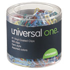 UNV95001 - Plastic-Coated Wire Paper Clips, No. 1, Assorted Colors, 500/Pack
