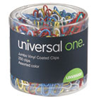 UNV95000 - Plastic-Coated Wire Paper Clips, Jumbo, Assorted Colors, 250/Pack