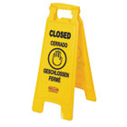 "RCP611278YEL - Multilingual ""Closed"" Sign, 2-Sided, Plastic, 11w x 1.5d x 26h, Yellow"