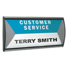 AVT75390 - People Pointer Wall/Door Sign, Aluminum Base, 8 3/4 x 4, Black/Silver