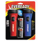 EVEL152S - LED Economy Flashlight, Red/Blue, 2/Pack