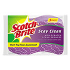 MMM202038 - Stay Clean Non-Scratch Scrub Sponges, 3 3/16 x 7/8 x 4 3/4, Purple, 3/Pack