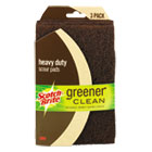 MMM87223312 - Greener Clean Heavy-Duty Scour Pads, 4.01 x 7, Brown, 3/Pack