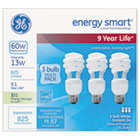 GEL92779 - Energy Smart Spiral CFL, 13 Watt, T3 Spiral, 3 Bulbs/Pack, 4 Packs/Carton