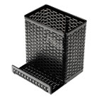 AOPART20014 - Urban Collection Punched Metal Pencil Cup/Cell Phone Stand, 3 1/2 x 3 1/2, Black