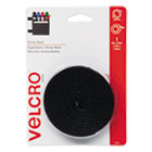 VEK90086 - Sticky-Back Hook and Loop Fastener Tape with Dispenser, 3/4 x 5 ft. Roll, Black