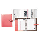 DTM48434 - Pink Ribbon Loose-Leaf Organizer Set, 5 1/2 x 8 1/2, Pink Leather Cover