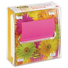 MMMDS330LSP - Pop-up Note Dispenser with Designer Daisy Insert, One 45-Sheet Pad, Black/Clear