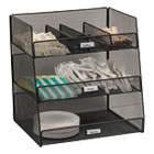 SAF3293BL - Onyx Breakroom Organizers, 3 Compartments,14.625x11.75x15, Steel Mesh, Black
