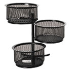 ROL62533 - 3 Tier Wire Mesh Swivel Tower Paper Clip Holder, 3 3/4 x 6 1/2 x 6, Black