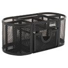 ROL1746466 - Mesh Pencil Cup Organizer, Four Compartments, Steel, 9 1/3 x 4 1/2 x 4, Black