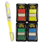 "MMM680RYBGVA - Page Flag Value Pack, Assorted, 200 1"" Flags + Highlighter with 50 1/2"" Flags"