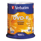 VER95102 - DVD-R Discs, 4.7GB, 16x, Spindle, Silver, 100/Pack