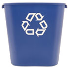 RCP295673BE - Medium Deskside Recycling Container, Rectangular, Plastic, 28.125qt, Blue