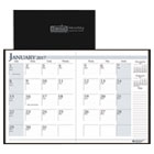 HOD26002 - Recycled Ruled Planner with Stitched Leatherette Cover, 8.5x11, Black, 2016-2018