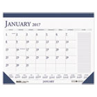 HOD164 - Recycled Two-Color Monthly Desk Pad Calendar w/Large Notes Section, 22x17, 2017