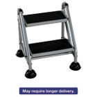 CSC11824GGB1 - Rolling Commercial Step Stool, 2-Step, 19 7/10 Spread, Platinum/Black
