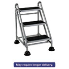 CSC11834GGB1 - Rolling Commercial Step Stool, 3-Step, 26 3/5 Spread, Platinum/Black