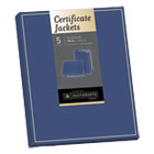 SOUPF6 - Certificate Jacket, Navy/Gold Border, Felt, 88lb Stock, 12 x 9 1/2, 5/Pack