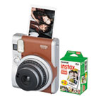 FUJ600016141 - Instax Mini 90 Neo Classic Camera Bundle, Auto Focus, Brown