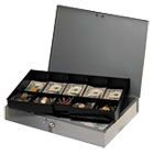 MMF2215CBTGY - Extra-Wide Steel Cash Box w/10 Compartments, Key Lock, Gray