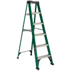 DADFS4006 - #592 Folding Fiberglass Step Ladder, 6 ft, 5-Step, Green/Black