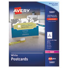 AVE5889 - Postcards, Color Laser Printing, 4 x 6, Uncoated White, 2 Cards/Sheet, 80/Box