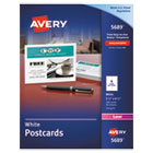 AVE5689 - Postcards for Laser Printers, 4 1/4 x 5 1/2, Uncoated White, 4/Sheet, 200/Box