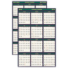 HOD390 - Recycled 4 Seasons Reversible Business/Academic Wall Calendar, 24x37, 2017-2018