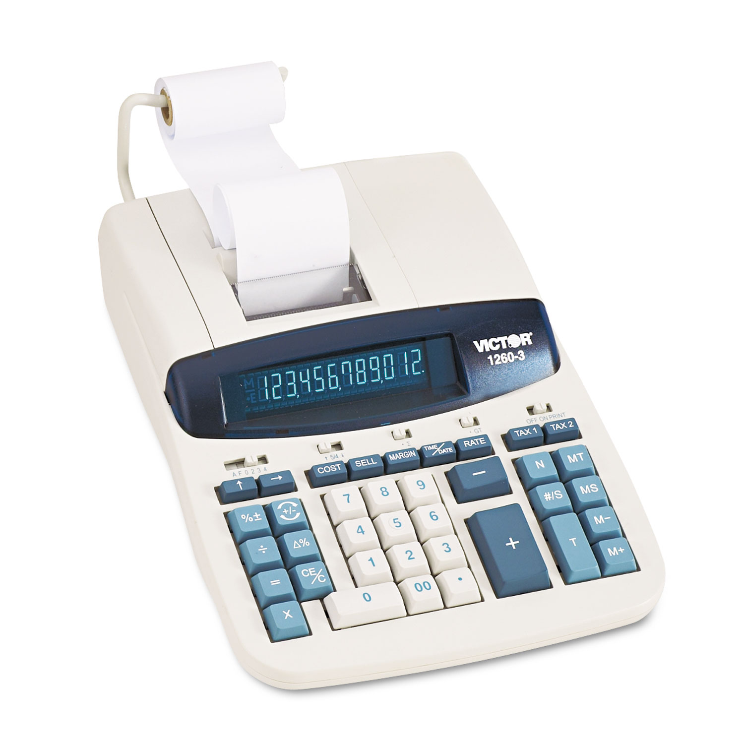 1260-3 Two-Color Heavy-Duty Printing Calculator, Black/Red