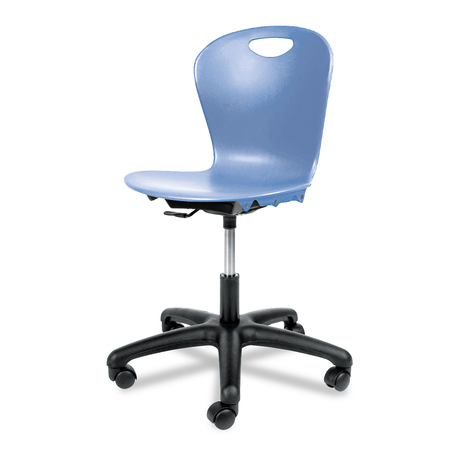 Adjustable Height Task Chair, Blueberry Seat/Blueberry Back, Black Base