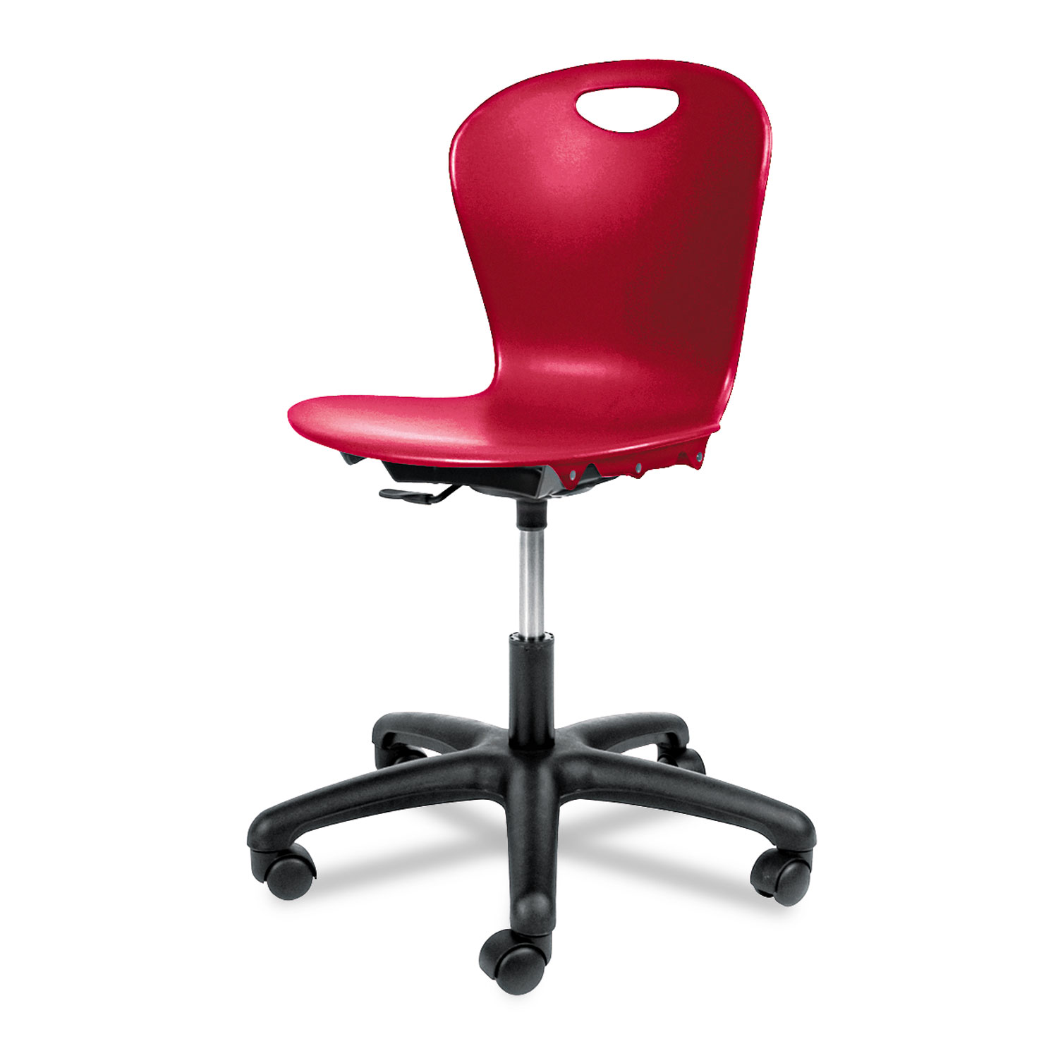 Adjustable Height Task Chair, Red Seat/Red Back, Black Base