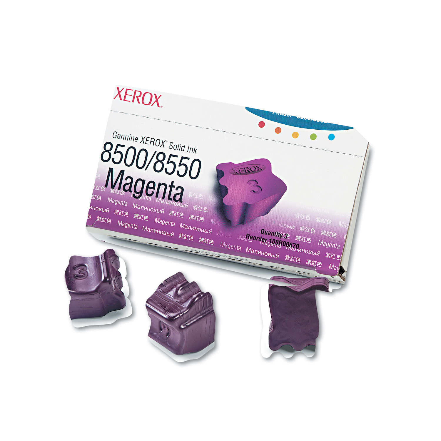 108R00670 Solid Ink Stick, 1033 Page-Yield, Magenta, 3/Box