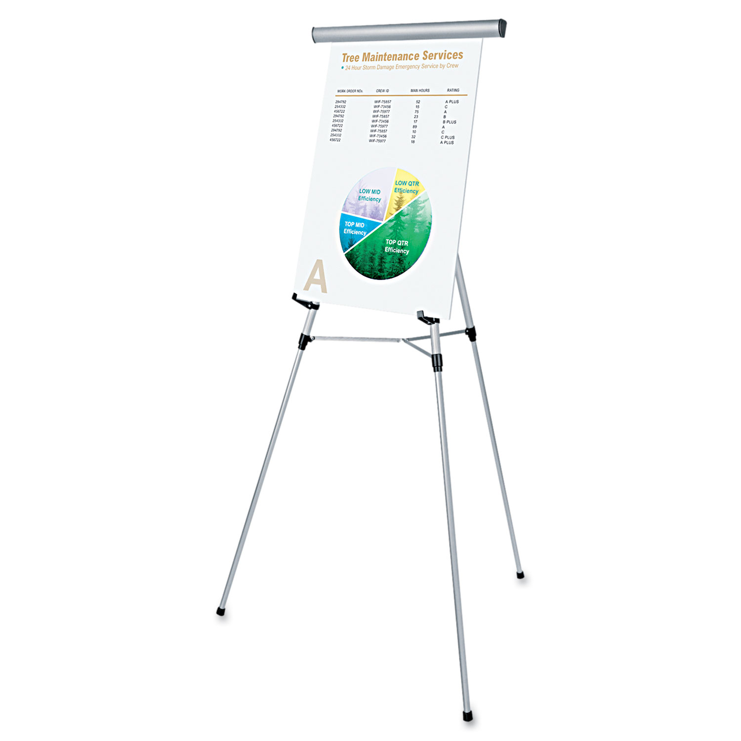 """3-Leg Telescoping Easel with Pad Retainer, Adjusts 34"""" to 64"""", Aluminum, Silver"""