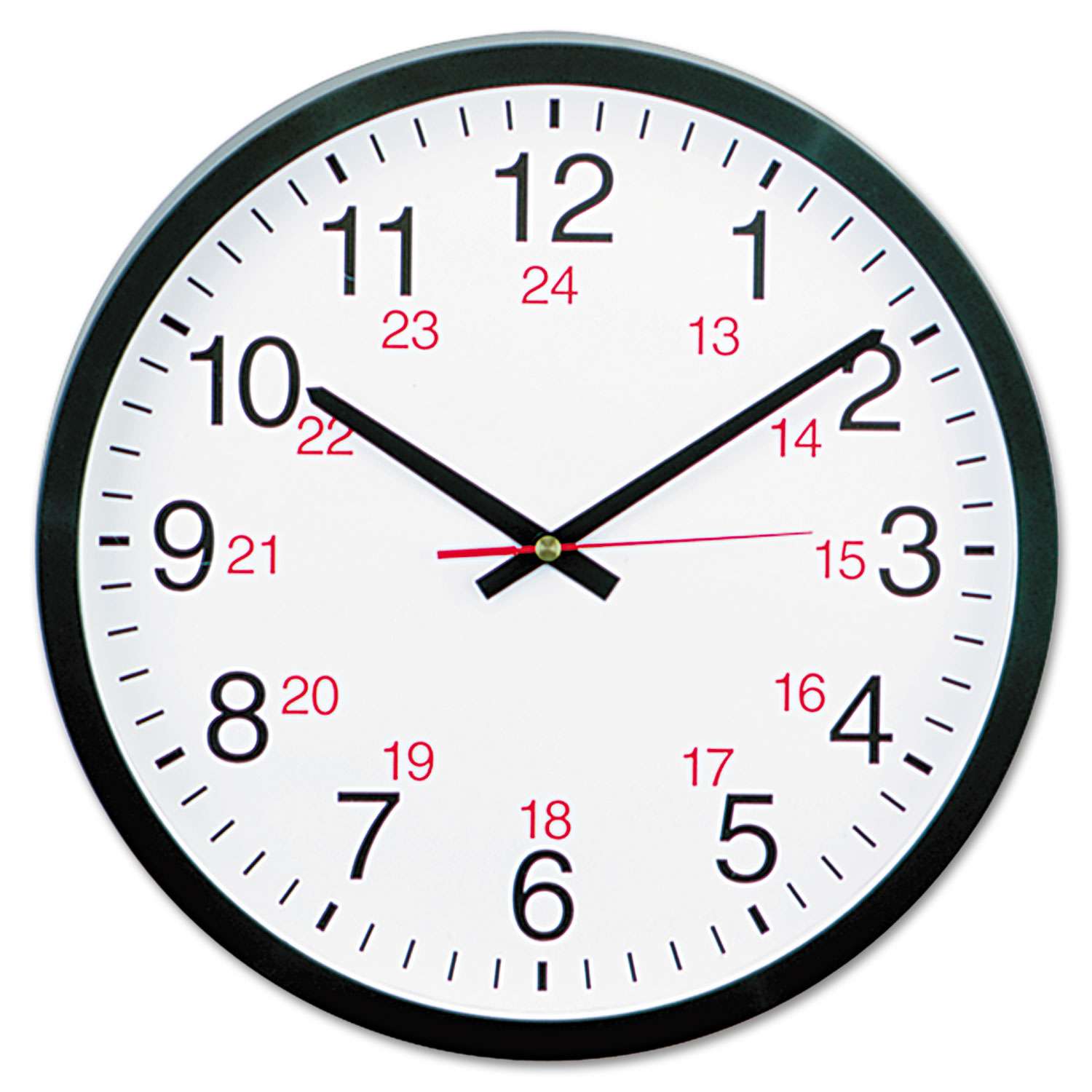 "24-Hour Round Wall Clock, 12.63"" Overall Diameter, Black Case, 1 AA (sold separately)"